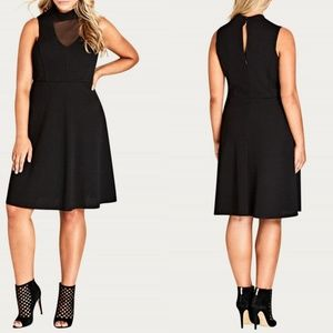 22 City Chic Black Illusion Neckline Dress LBD NWT